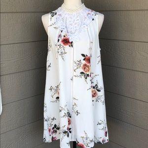 Umgee High Collar Floral Dress